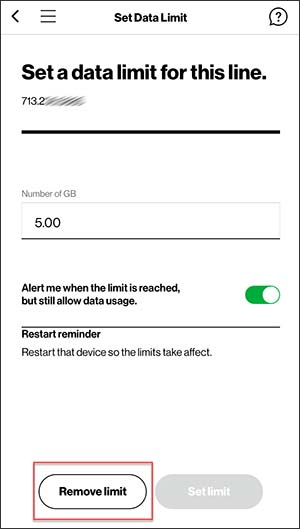 Set Data Limit with Remove limit