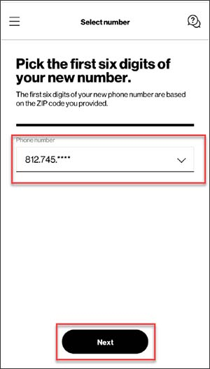 Choose first 6 digits of new mobile number