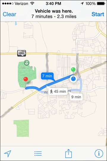 View directions to the vehicle