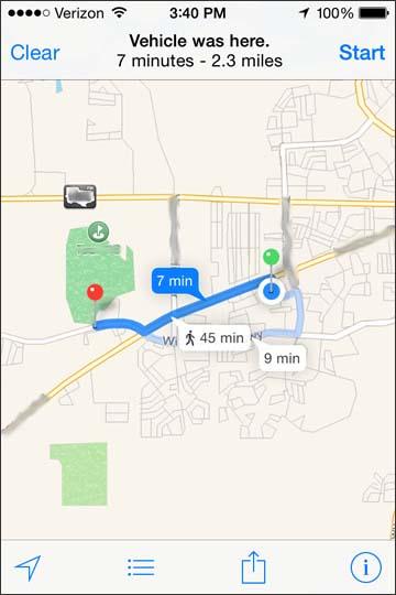 Ver indicaciones hasta el vehículo