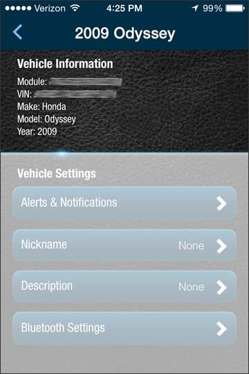View vehicle information