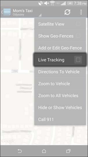 Oprime el icono Live Tracking