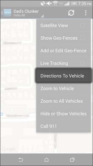 Tap Directions To Vehicle