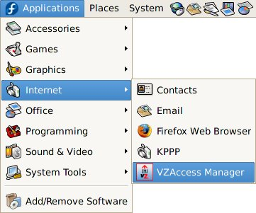 Starting VZAccess Manager from Applications menu