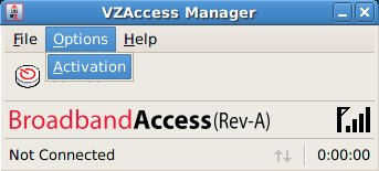 VZAccess Manager menu - Options, activation.