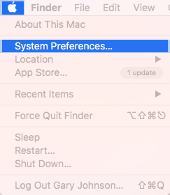 Apple menu with focus on selecting system preferences