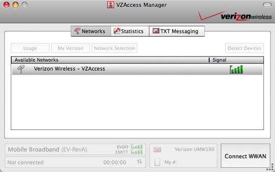Pantalla principal de VZAccess Manager con el botón Connect WWAN resaltado