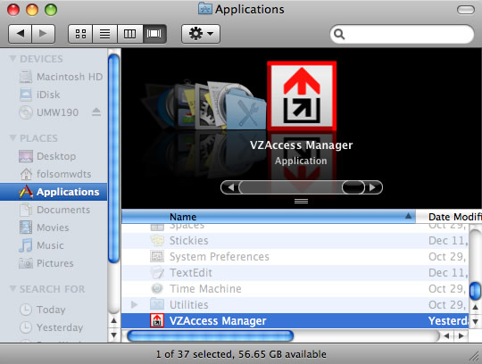 Finder with Applications and VZAccess Manager