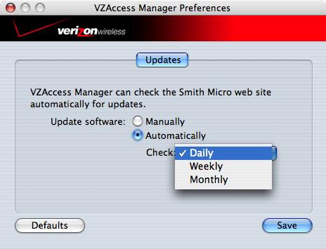 Pantalla de VZAccess Manager Menu Update Preferences