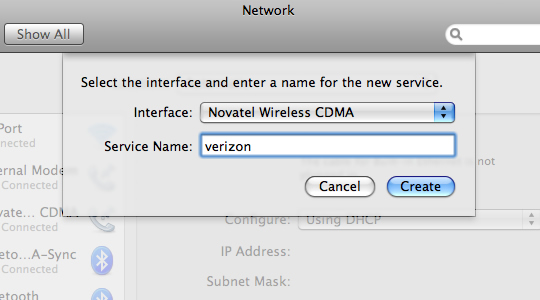 Network Preferences creating new service profile