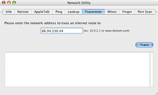 Network Utility screen with Traceroute