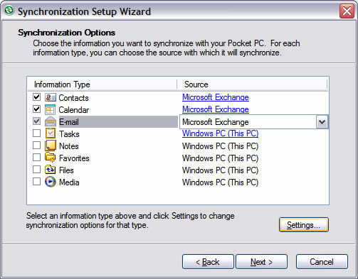 Synchronization Options screen with E-mail and Settings highlighted