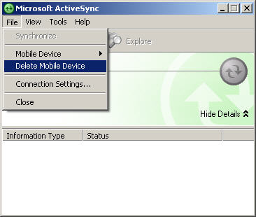 Active Sync File Menu with focus on Delete Mobile Device