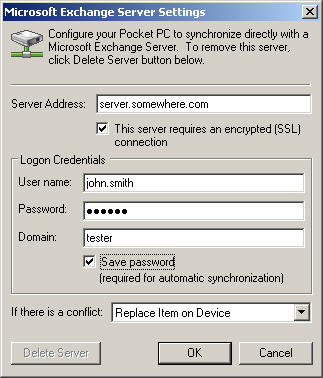 Exchange Server credentials