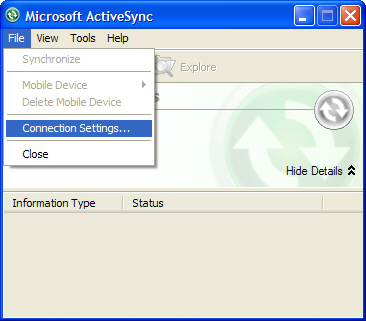 ActiveSync with File > Connection Settings selected=