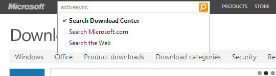 Microsoft Download Center Search, activesync