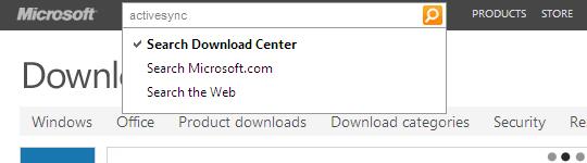 Opción Search del centro de descargas de Microsoft, activesync