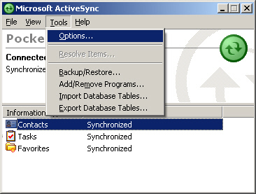 Image of the ActiveSync Tools Menu with Options selected