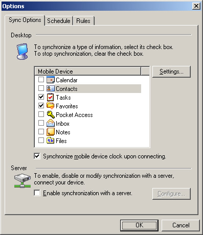 Image of the ActiveSync Options with Contacts deselected