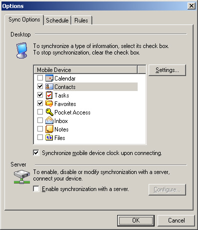 Image of the ActiveSync Options with Contacts selected