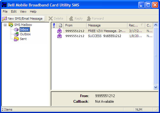 Dell Mobile Broadband Card Utility with SMS highlighted