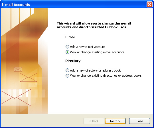 Email account options