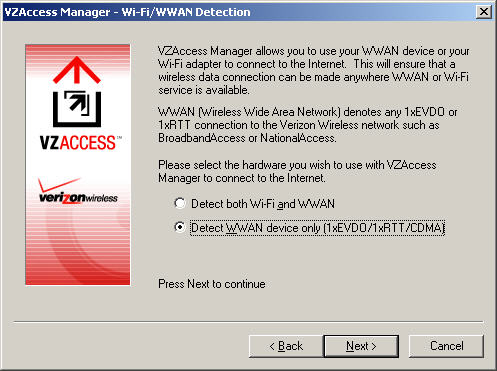 Wi-Fi / WWAN Detection screen