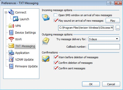 TXT Messaging Preferences