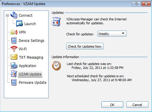 VZAM Updates Preferences
