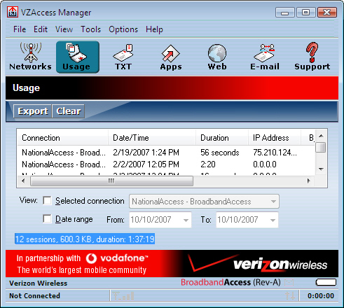 VZAccess Manager with usage screen displayed