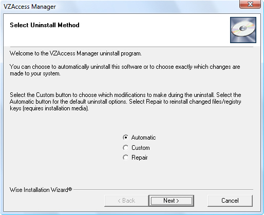 Select Uninstall Method screen with Automatic highlighted