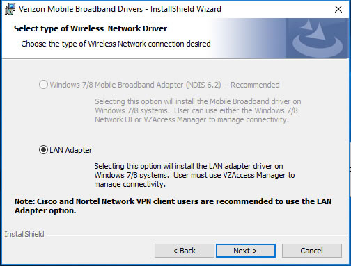 Select Wireless Network Driver screen with LAN Adapter