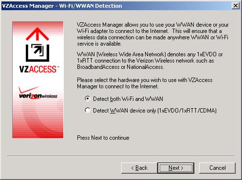 Pantalla Detección de Wi-Fi / WWAN