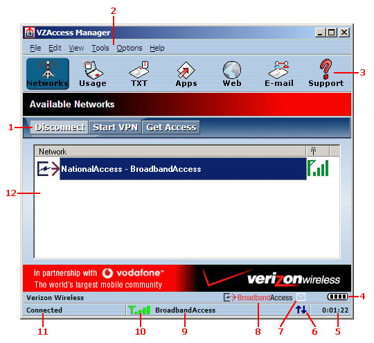 Image of VZAccess Manager main screen icon callout
