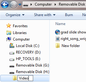 File Explorer with Removable Disk and Video