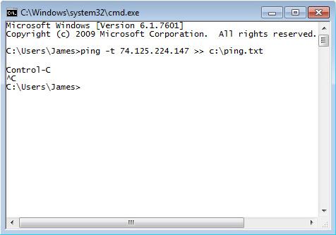 Interfaz de línea de comando de Windows y comando ping atemporal con salida a un archivo