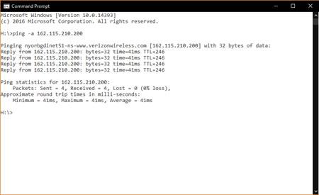 Interfaz de línea de comando de Windows y comando ping