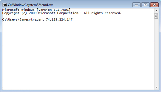 Windows command line interface with traceroute command entered