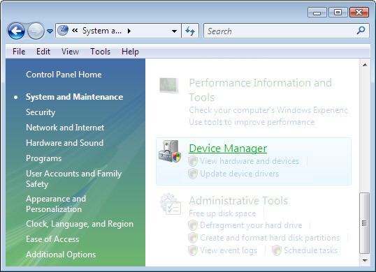 System and Maintenance menu with focus on selecting Device Manager