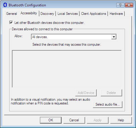 Pestaña de Accessibility en Bluetooth Configuration