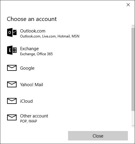 Choose an account screen with available options