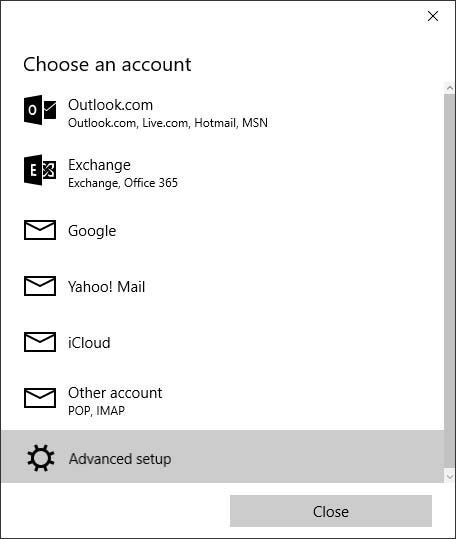 Choose an account screen with Advanced setup