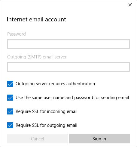 Internet email account screen with selectable options