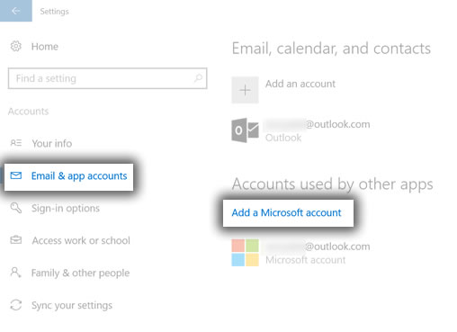 Your email and accounts with Sign in with a Microsoft account instead
