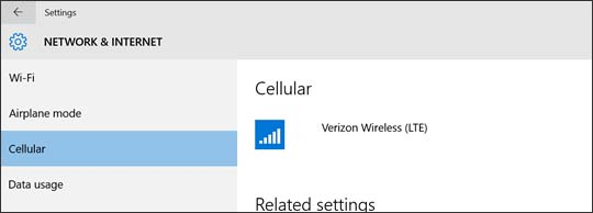 Cellular section with Verizon Wireless connection