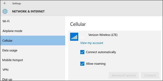 Verizon Wireless connection with selectable options