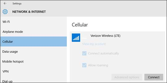 Verizon Wireless connection with Connect