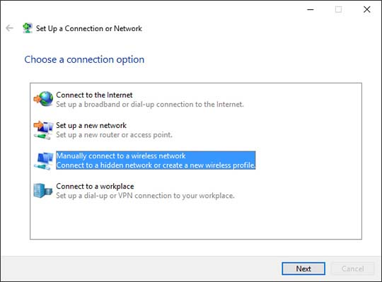 Choose a connection option with Manually connect to a wireless network