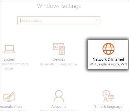 Settings with Network & Internet