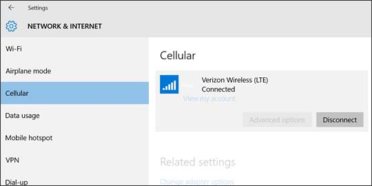 Verizon Wireless connection with Disconnect